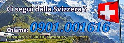 Se chiami dalla Svizzera usa il numero di telefono 0901.001616 al costo di 1.50CHF al minuto